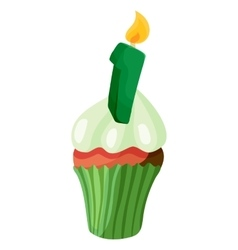 Birthday cupcake with candle icon cartoon style vector
