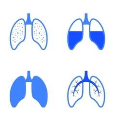 blue human lung icons set vector image