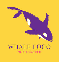 blue whale logo set flat color style vector image