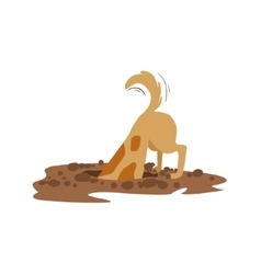 Brown Pet Dog Digging The Dirt In The Garden vector image