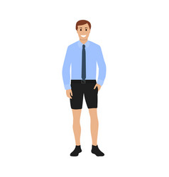 businessman in shirt with tie and shorts vector image