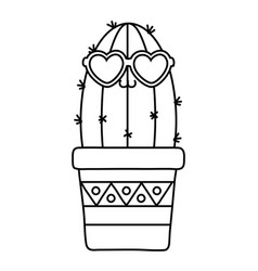 cactus with heart sunglasses black and white vector image