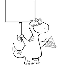 cartoon brontosaurus holding a slice of pizza and vector image