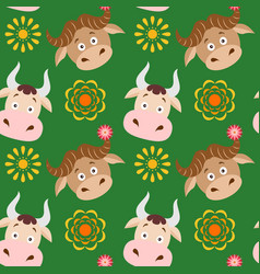Cartoon cow and buffalo seamless childish pattern vector