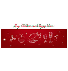 christmas turkey apple holly corner mistletoe a vector image