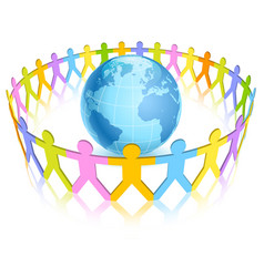 Circle colorful people figures around world vector