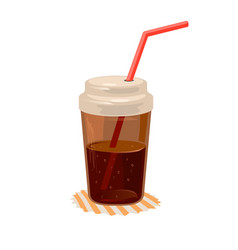 Cola or coke beverage in closed cup with straw on vector