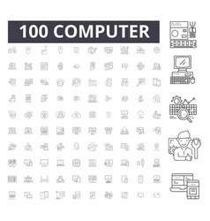 computer editable line icons 100 set vector image