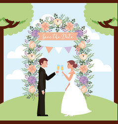 Couple toasting wine wedding arch flowers save the vector