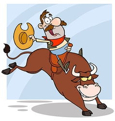 Cowboy Riding Bull In Rodeo vector image