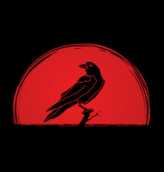 crow on tree graphic vector image