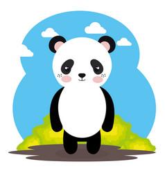 Cute panda bear in the field landscape character vector