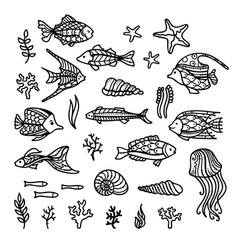 doodles underwater icons set vector image