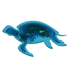 Double exposure layered paper cut turtle vector