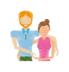 drawing couple relationship lovely vector image