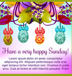 Easter sunday greeting card with egg and flower vector