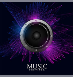 electro music poster with speaker and abstract vector image