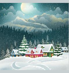Evening winter village vector