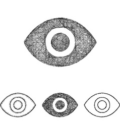 Eye icon set - sketch line art vector image