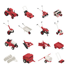 farm garden machinery icons set vector image