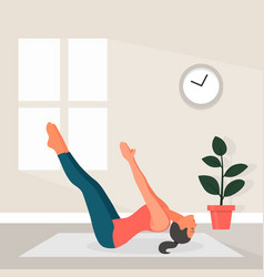 female yoga in flat style of vector image