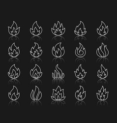 fire shape simple white line icons set vector image