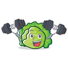 Fitness lettuce character cartoon style vector