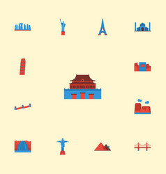 Flat icons japan great pyramid waterfall and vector