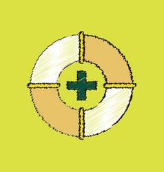 Flat shading style icon lifebuoy vector