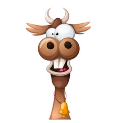 Funny cute crazy cartoon characters cow vector