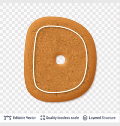 gingerbread letter d symbol with drop shadow vector image