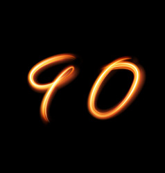 Glowing light number nine and zero null hand vector