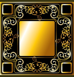 Gold frame ornament vector