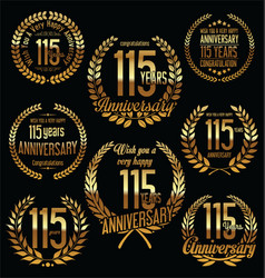 Golden anniversary labels with retro vintage vector