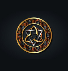 Grand seal gold triquetra wicca circle logo vector