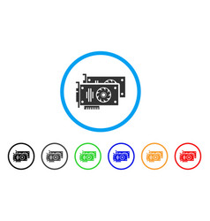 Graphic accelerator cards rounded icon vector