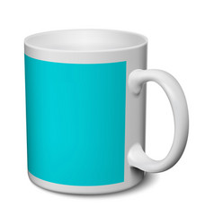 Gray and blue mug realistic 3d mockup on a white vector