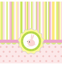 Greeting card with stripes dots and rabbit vector