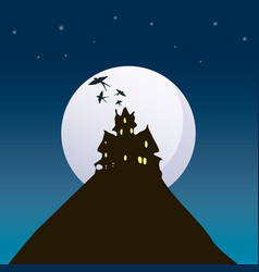 halloween background with house vector image