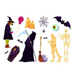 halloween icon set fantasy characters and symbols vector image
