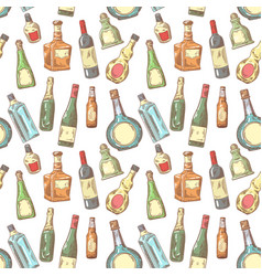 Hand drawn bottles seamless pattern wine vector