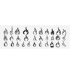 hand drawn flames doodle set vector image