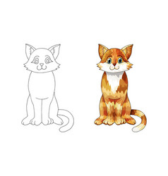 hand drawn ginger cartoon cat for children vector image