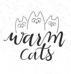 hand lettering text - warm cats vector image vector image