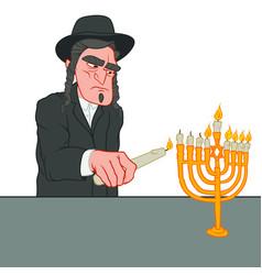 Hanukkah celebration jewish man lighting the vector