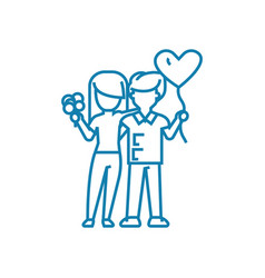 happy couple linear icon concept happy couple vector image