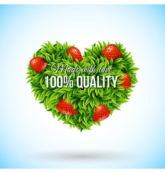 Heart shape label made of leafs Business label vector