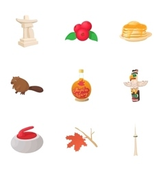 Holiday in Canada icons set cartoon style vector image
