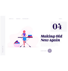 housewife ironing clear linen at home website vector image