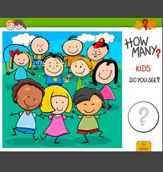 How many kids cartoon educational task vector